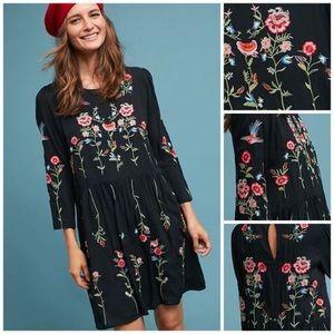 Maeve For Anthropologie Black Embroidered Dress